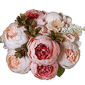 Luyue Vintage Artificial Peony Silk Flowers Bouquet Home Wedding Decoration (Light Pink Bud) 79
