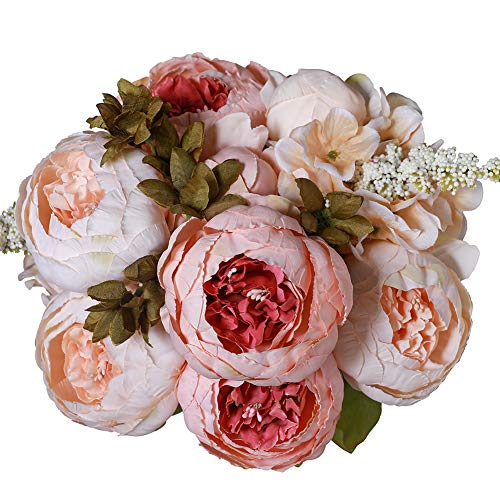 Luyue Vintage Artificial Peony Silk Flowers Bouquet Home Wedding Decoration (Light Pink Bud)
