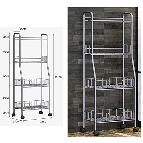 YAONIEO 4-Tiers Heavy Duty Kitchen Storage Bakers Organizer Rack Utility Shelves 18.89'' L x 13.78'' W x 47.6'' H Silver Grey by YAONIEO (Image #4)