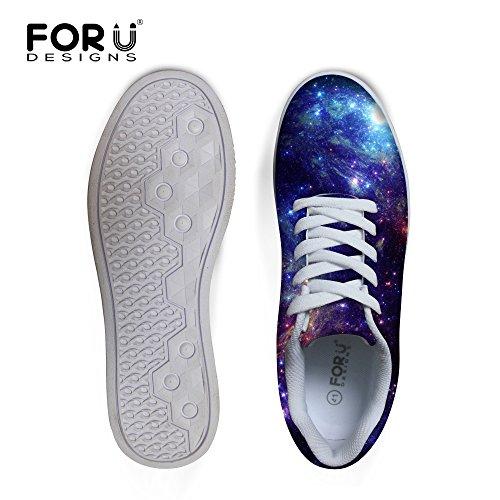 För U Designar Tillfälliga Mens Galax Print Låg Topp Bekväma Skateboard Skor Spets-up Sneaker Galaxy B2
