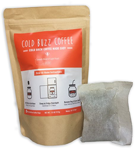 Decaf Cold Brew Iced Coffee (5-pack) | Cold Buzz Coffee Decaffeinated Bean Bag Packs