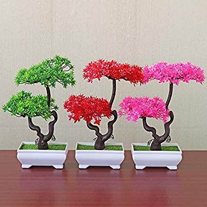 WopenJucy Plantas Artificiales Grande Simuladas Bonsai de Olivo Conjunto Macetas para Decoraci/ón de Oficina Casa Amarillo