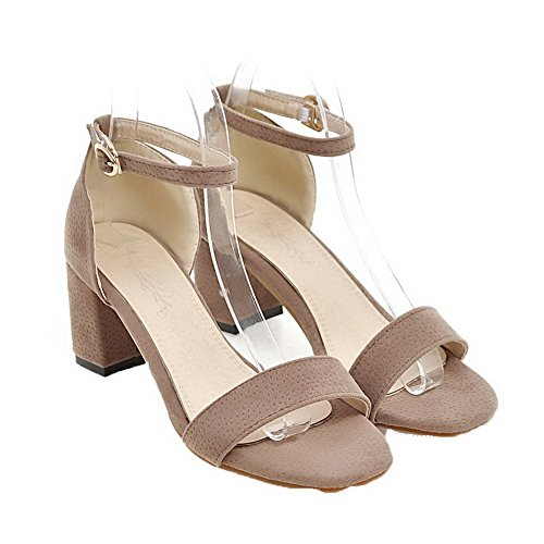Open Solid apricot Buckle VogueZone009 Kitten Sandals Frosted Toe Women Heels UE6qg