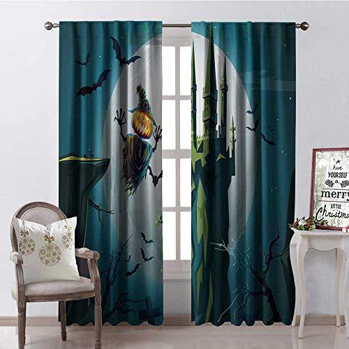 (Hengshu Halloween Green Castle Pumpk Waterproof Window Curtain Decorative Curtains for Living Room W72 x)