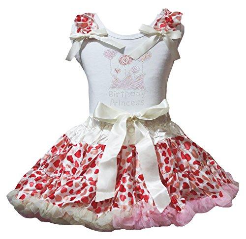Petitebella Birthday Balloon White Shirt Beige Cream hearts Skirt Set 1-8y (1-2 Years) (Balloon Skirt Dress)