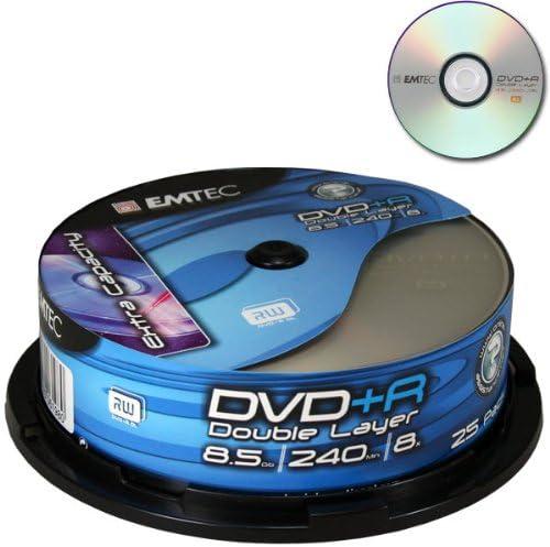 Emtec DVD+R DL 8,5GB 8X 25P CB-8 - DVD+RW vírgenes (8,5 GB, DVD+R, Caja para Pastel, 8X): Amazon.es: Informática
