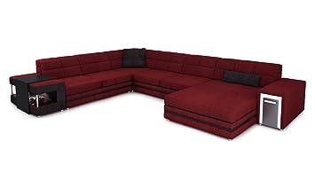 Xxl Wohnlandschaft Stoff Weinrot Schwarz Polster Sofa U Form Couch