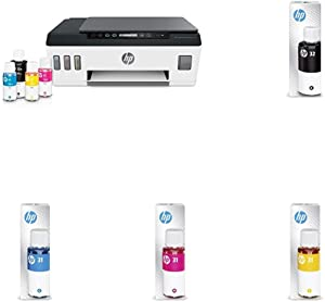 HP Smart-Tank Plus 551 Wireless All-in-One Ink-Tank Printer | up to 2 Years of Ink in Bottles | Mobile Remote Print, Scan, Copy (6HF11A) with Additional Ink Bottles - 4 Colors