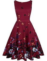 OLADY Vintage 1950's Sleeveless Floral Rockabilly Garden Party Dress