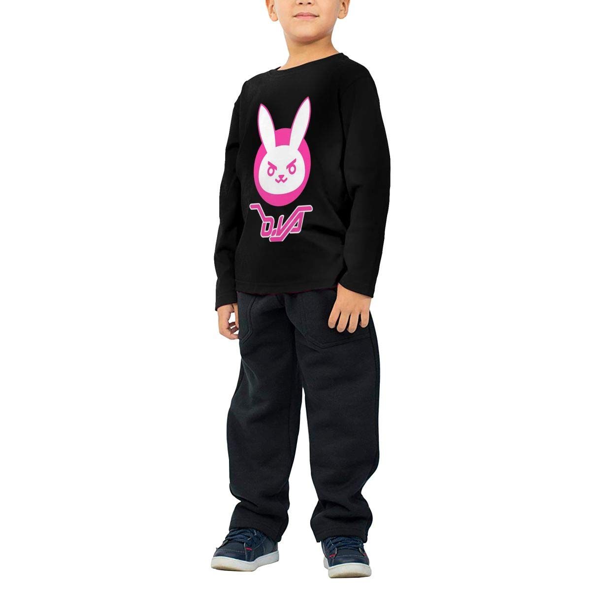 2-6 Year Old Childrens Long Sleeve T-Shirt Vintage Unique Long Sleeve T Overwatch Dva Bunny Logo Black