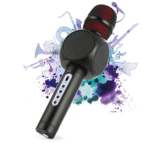 Wireless Bluetooth Karaoke Microphone, Fede 3-in-1 Portable Karaoke System with Two built-in speakers for Home KTV, Outdoor and Birthday Party. Work with Apple iPhone Android Smartphone or PC(Black)