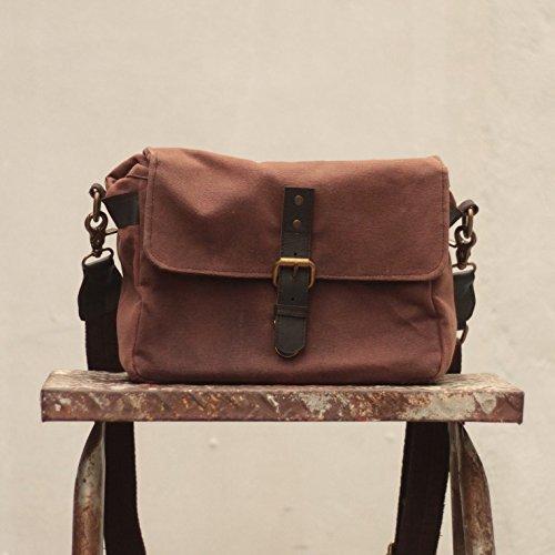 Handmade Waxed Canvas Compact Camera Messenger Bag - Brown by Gouache Bags