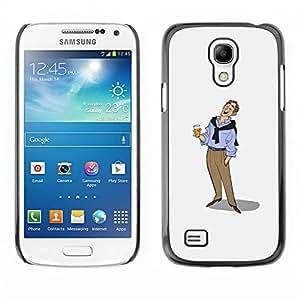 GOODTHINGS (NO PARA S4) Funda Imagen Diseño Carcasa Tapa Trasera Negro Cover Skin Case para Samsung Galaxy S4 Mini i9190 - día de fiesta de la cerveza dibujo del arte del hombre relajado
