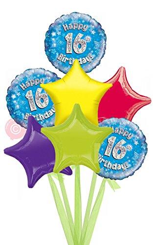 Num 16 Happy 16th Birthday Blue Holographic