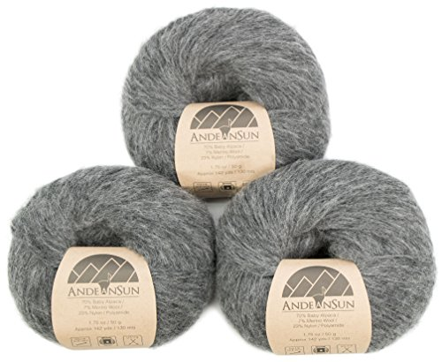 (Extra Soft Baby Alpaca Merino Wool Yarn Weight Category #4 Worsted, Aran, Afghan, Medium -Set of 3 Skeins 150 Grams Total- Luxuriously and Caring Soft)
