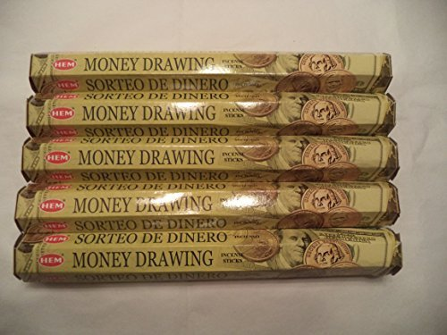 HEM Money Drawing 100 Incense Sticks (5 x 20 stick packs) (Money Incense Pack)