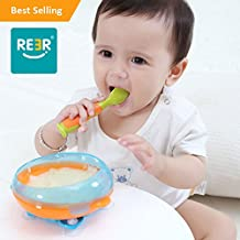 ReeR Stay Put Bowl Suction Bowl with Twisty Suction Base for Infant and Toddler-Self Feeding- With Bonus Spoon