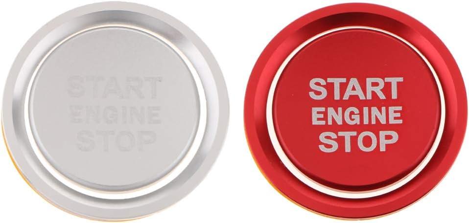 couverture ronde Homyl 1 Set Moteur Start Bouton Couvercle avec anneau ext/érieur pour voiture argent rouge