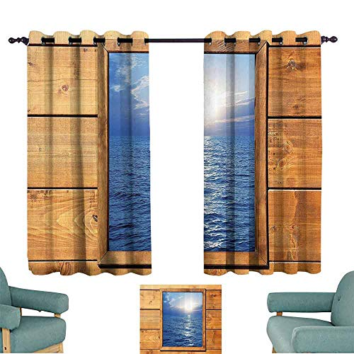 House Decor Collection Decorative Curtains For Living Room Window Sea View from Wooden Oak Square Frame Room Sunrise Sunlights Rustic Image Print for Living, Dining, Bedroom (Pair) 55