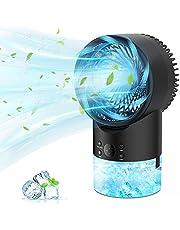 PATISZON Air Cooler Mini, Air Conditioner Portable Ventilator met 3 Koelniveaus en 7 Moodlights, Luchtkoeler Water Luchtbevochtiger voor Thuis, Kantoor, Reizen