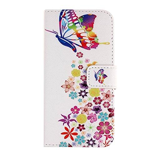 EMAXELERS Leder Hülle für iPhone 6S Plus,iPhone 6S Plus Hülle Glitzer,iPhone 6S Plus Hülle Wallet,Leder Handy Tasche Wallet Case Flip Cover Etui für iPhone 6 6S Plus,iPhone 6S Plus Elegant Sonnenblume Butterfly 4