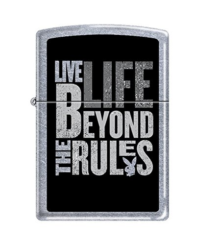 (Zippo Playboy Live Life Beyond The Rules Pocket Lighter, Street Chrome)