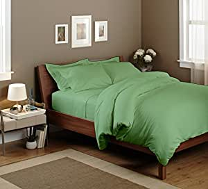 """Egyptian cotton Fitted Sheet With 16"""" Deep Pocket 350 TC Solid (Twin XL, Sage) By Bedding Spa"""