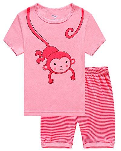 Monkey Pattern (Babypajama Little Girls' Monkey Cartoon Pattern Short Pajama Set 2 Piece T-Shirt & Pants 3 Years)