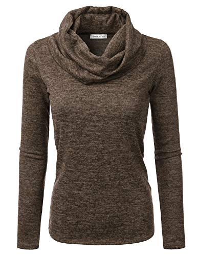 (Doublju Cowl Neck Heather Knit Sweater Top for Women with Plus Size Brown Small)