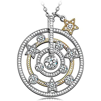 77438ee69fe5 NINASUN s925 Sterling Silver Star Moon Necklace Gifts for Women Wife Valentines  Day Gold Plated CZ