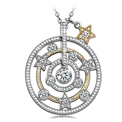 NINASUN Women Necklace s925 Sterling Silver Star Moon Necklace Gold Plated CZ Round Pendant Fine Jewelry Birthday Gifts for Daughter Teen Girls Girlfriend Granddaughter Gifts for Women Her