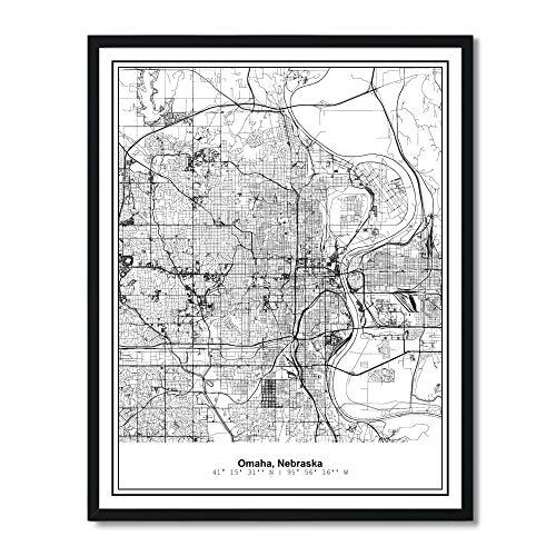Susie Arts 11X14 Unframed Omaha Nebraska Metropolitan City View Abstract Street Map Art Print Poster Wall Decor V282 ()