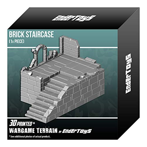 Brick Staircase, Terrain Scenery for Tabletop 28mm Miniatures Wargame, 3D Printed and Paintable, EnderToys from EnderToys