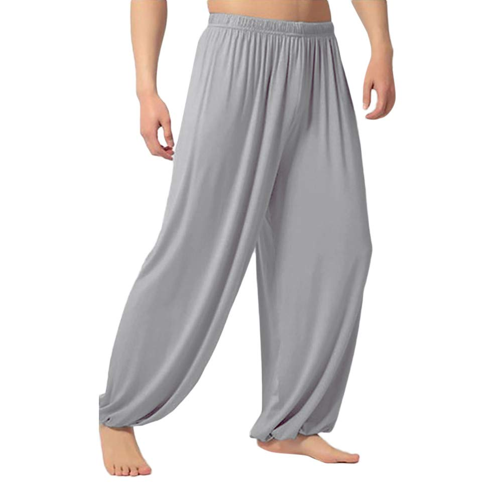 Edenun Men's Loose Pants Recreational Straight Cylinder Fitness, Breathable Dance, Yoga Pure-Colour Trousers Sweatpants