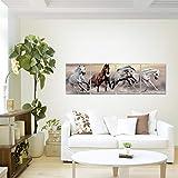 Bilder-Pferde-Wandbild-160-x-50-cm-Vlies-Leinwand-Bild-XXL-Format-Wandbilder-Wohnzimmer-Wohnung-Deko-Kunstdrucke-Braun-4-Teilig-MADE-IN-GERMANY-Fertig-zum-Aufhngen-014146a