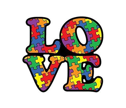 Autism Awareness - Love Puzzle Piece with Heart Color puzzle peices Vinyl Decal
