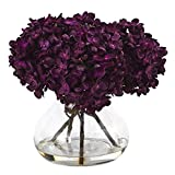 SKB Family Hydrangea With Vase Silk Flower Arrangement Smooth Purple Flowers Plant