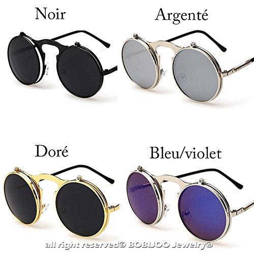 8f5d7a97431174 BOBIJOO Jewelry - Lunettes de Soleil Steampunk Verres Rabattables Rondes  Vintage Rétro Homme Femme - Unique, Bleu  Amazon.fr  Bagages