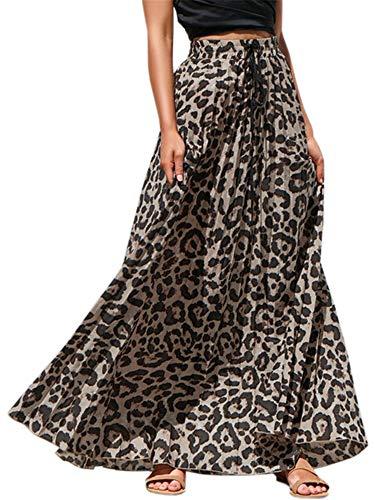 Pengfei Womens Leopard Print Long Skirts Drawstring High Waisted Beach Boho Maxi Skirt