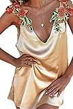 YACUN Women's Sleeveless Flower V-Neck Satin Slip Party Dress