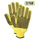 Magid Glove & Safety 590KVTPR-6 Magid Cut Master 590KVTPR Kevlar Ambidextrous Dotted Knit Gloves - Cut Level 4, 9, Yellow, 6 (Pack of 12)