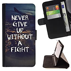 - Never Give Up - - Style PU Leather Case Wallet Flip Stand Flap Closure Cover FOR Apple Iphone 6 PLUS 5.5 - Devil Case -