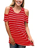 Ladies Cut Out Shoulder Summer Top Casual T Shirt Teens Girls Juniors Stripes Blouse Red M