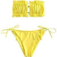 ZAFUL Bikini para mujer sin tirantes, escote con volantes, estilo bandeau.