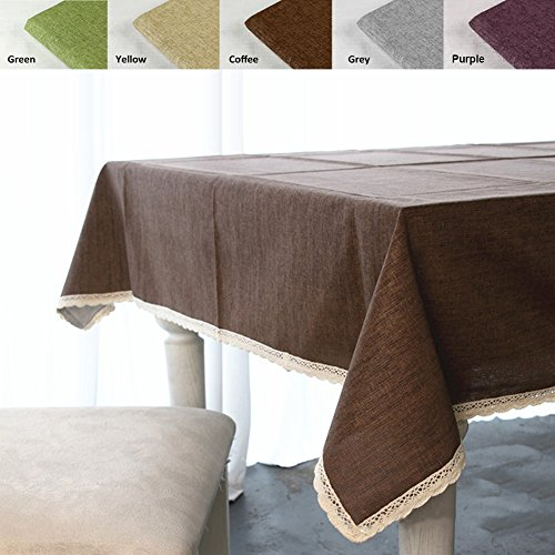 "ColorBird Solid Cotton Linen Tablecloth Waterproof Macrame Lace Table Cover for Kitchen Dinning Tabletop Decoration (Rectangle/Oblong, 55"" x 120"", Coffee)"