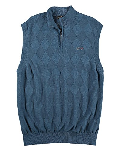 Greg Norman - Men's - Solid Argyle/Diamond Jacquard 1/4 Zip Golf Sweater Vest (Medium, Thunder Blue) ()