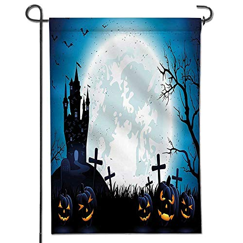 Mikihome Proud to Be Patriotic Garden Flag Spooky Concept with Halloween Icons Old Celtic Harvest Festival Figures in Dark Image Crab and Star Print Both Sides -