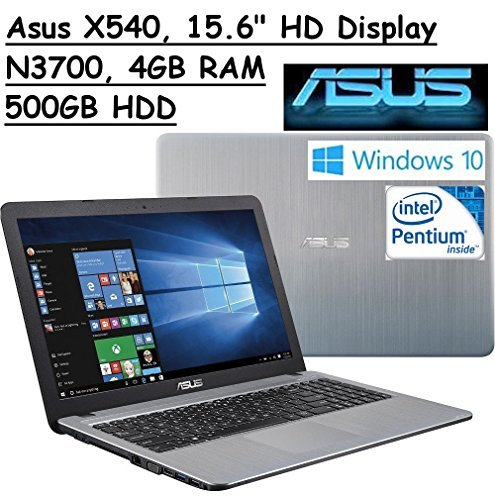 2016 ASUS 15.6 High Performance Premium HD Laptop (Intel Quad Core Pentium N3700 Processor 1.6 GHz, 4GB RAM, 500GB HDD, SuperMulti DVD, Wifi, HDMI, VGA, Webcam, Windows 10-silver)