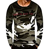 baskuwish Men's Blouse ,Clearance Sale Fashion Personality Camouflage Men's Casual Slim Long Sleeve Shirt Top Blouse (3XL, Green)