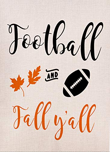 Dyrenson Decorative Football and Fall Yall Garden Flag Double Sided, Autumn Leaves Quote House Yard Flag, Funny Decorative Flag with Saying, Garden Yard Decorations, Home Seasonal Outdoor Flag 12 x - Garden Leaves Flag Autumn
